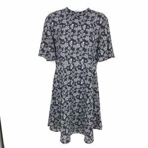 H&M Black and White Floral Short Sleeve Dress